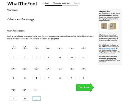 ↑文字を分割して検出してくれるので、それぞれの文字のテキストボックスにあてはまった文字を入力して「Continue」