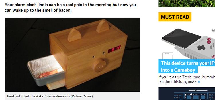 ベーコンアラームクロック | ベーコンが焼ける音と匂いで起こす、アメリカナイズな目覚まし時計