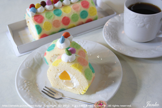 水玉ロールケーキ2